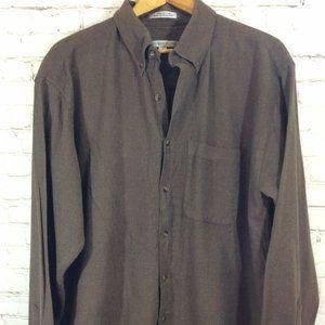 Geoffrey Beene Brown Button Down Shirt Size XL